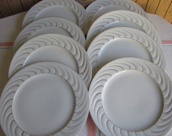 Occupied Japan Luncheon Plates Set of 8 Ivory and Gold Swirled Vintage Dinnerware and Replacements