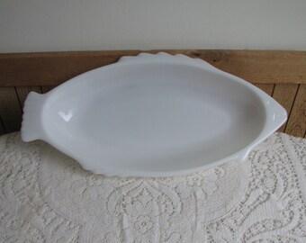 Glasbake Milk Glass Fish Platter Vintage Kitchens and Serving Dish