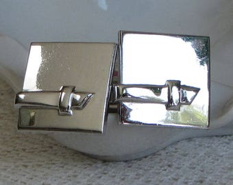 Swank Square Silver-Toned Belt Cuff Links Men's Vintage Jewelry and Accessories Semi-Formal Wear