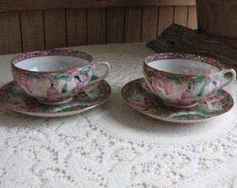 Japanese Imari Cups and Saucers Set of Two (2) Canton Rose Pattern Vintage Dinnerware and Replacements