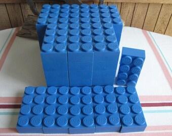Original Legos blue bricks 42 Pieces 1950s