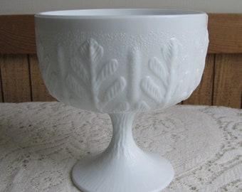 FTD Milk Glass Planter White Compote Vintage Home Decor and Florist Ware 1978
