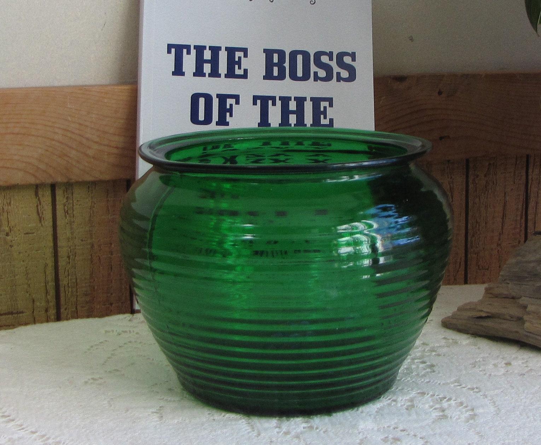 Planter Menthe En Pot emerald green glass planter beehive florist ware vintage