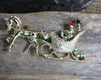 Gerry's Christmas Carriage Brooch Vintage Holiday Jewelry and Accessories