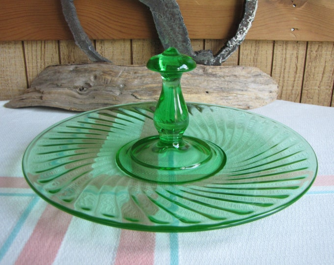 Green Depression Glass Swirl Tidbit Tray Anchor Hocking 1928-1930 Vintage Dinnerware and Replacements