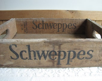Schweppe's Crate Old Wood Crates Rustic Farmhouse Decor and Storage Squirt Bottling Co. Elgin IL