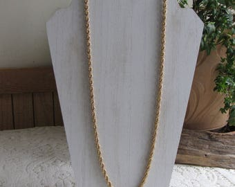 "Monet Gold Chain Triple Strand Twisted 26"" Gold Toned Necklace Vintage Women's Jewelry and Accessories"