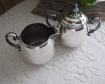 Antique Wm. Rogers Silver Plated Cream and Sugar Bowl Eagle and the Star Makers Mark