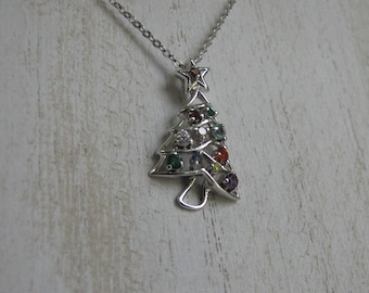 Christmas tree silver necklace Vintage Holiday Jewelry and Accessories