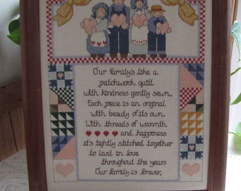 Vintage Embroidered Family Sampler Farmhouse and Rustic Home Décor and Wall Pictures