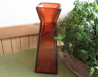 Square Orange Vase Tall Vintage Florist Ware Geometric Flower Vase