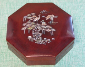 Vintage Jewelry box hexagon Abalone birds