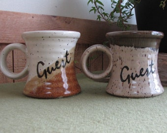 Clay in Mind Guest Coffee Mugs Coffee Hand Thrown Pottery San Diego CA Two (2) Cups Vintage Drinkware