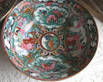 Japanese Imari Noodle Bowls Set of Six (6) Canton Rose Pattern Vintage Dinnerware and Replacements