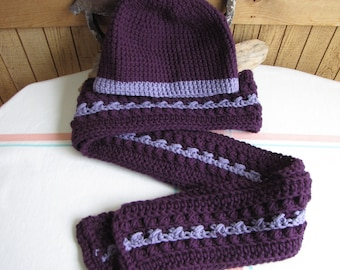 Winter Scarf and Hat Set Dark Purple with Light Purple Inset Irish Stitch 100% Acrylic Yarn