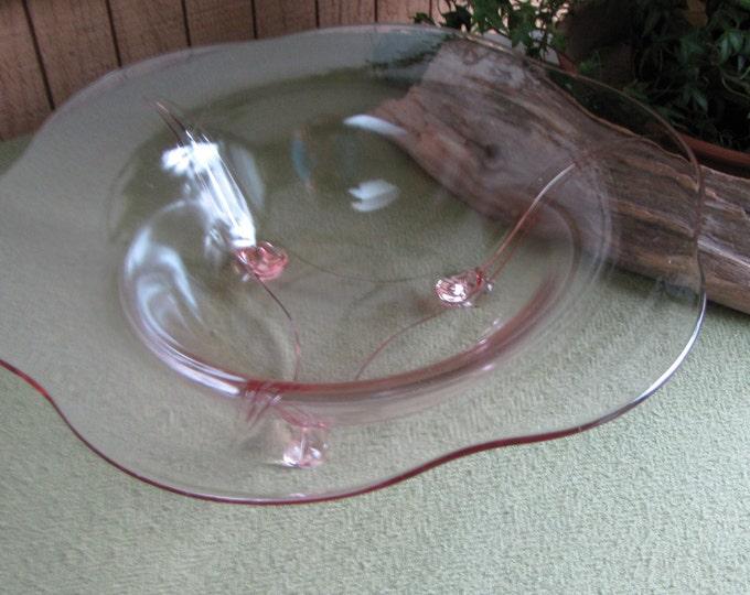 Pink Blush Depression Glass Bowl Three-toed Rolled Edged Coffee Table Bowl Circa 1930s
