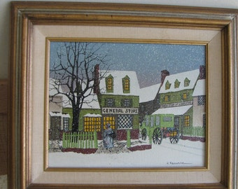 Vintage H. Hargrove General Store oil painting Americana Limited Edition
