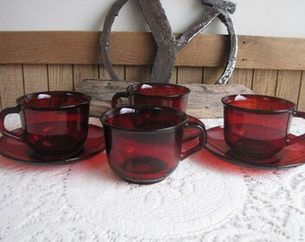 Arcoroc Red Cups and Saucers Set of 3 (4 cups) Vintage Drinkware