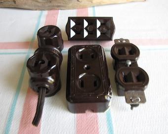 Bakelite Electrical Plugs Vintage and Industrial Salvage Set of 5
