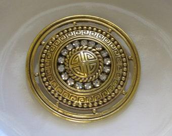Circular Greek Key Brooch Vintage Jewelry and Accessories