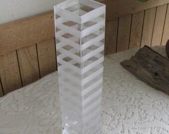 Striped Glass Vase Mid Century Modern Home Décor Vintage Florist Ware Flower and Decorative Vases