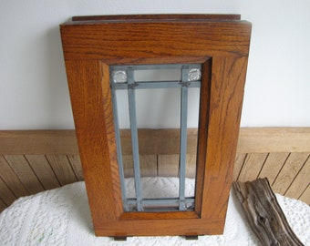Oak Window Etched Glass Home Salvage Rustic Farmhouse Home Decor