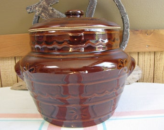 Mar-Crest Stoneware Bean Pot Oven-Proof Stoneware Vintage Oven and Cookware