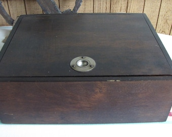 Vintage wood humidor cigar box with stainless steel lining