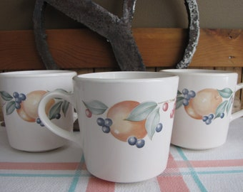 Abundance Coffee Mugs Set of 3 Corning Ware Corelle Cups 1990s Vintage Dinnerware and Replacements