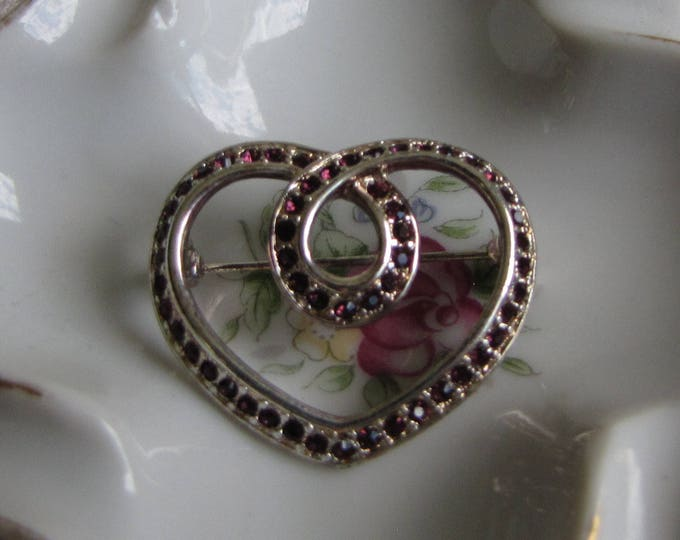 Napier Heart Brooch Vintage Jewelry and Accessories Silver-Toned and Pink Rhinestones