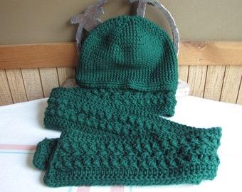 Winter Scarf and Hat Set Kelly Green Irish Stitch 100% Acrylic Yarn