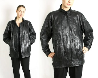 Vintage 80's 90's Black Soft Genuine Leather Bomber Jacket / Parka Coat Baggy Oversized - Small to Medium