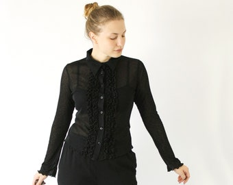 Black Sheer Blouse Etsy