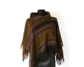 Women/'s Western Cowboy Cowgirl Fringed WoolWool Blend Poncho Beige with Brown Stripes