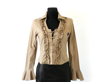 White RUFFLE Shirt Tuxedo Blouse Semi-Sheer Blouse 80s Boho Pearl Button Up Pirate Victorian Vintage Bohemian Long Sleeve Small