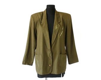 8e0f4b1329c Vintage 80's Moss Green Big Shoulder Pads Blazer, Single Breasted Long Blazer  Jacket