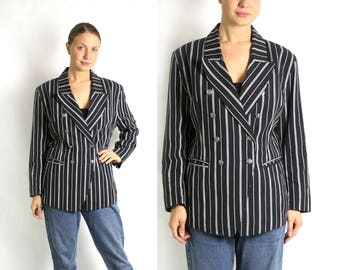 Vintage 80's Black & White Striped Double Breasted Long Blazer Jacket - Medium to Large