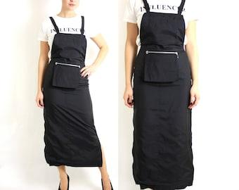 Vintage 90's Black Maxi Long Overalls Dress Sarafan Front Pocket