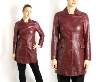 Vintage 80's 90's Burgundy Red Wine Genuine Leather Trench Coat