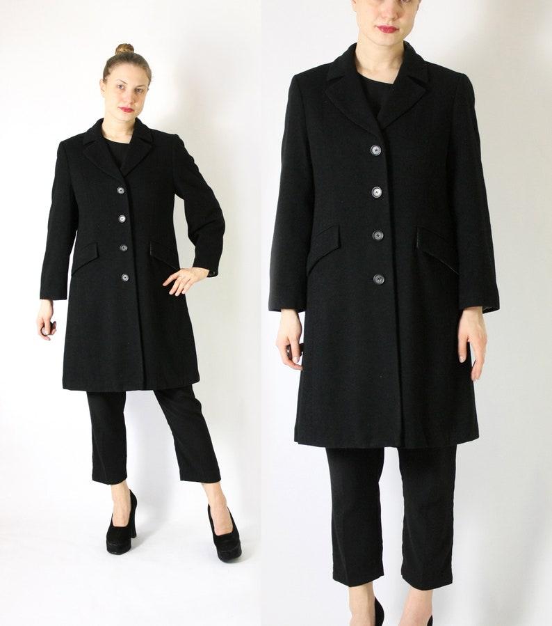 73318d7980 Vintage Pure Cashmere Black Coat, Black Wool Coat, Cashmere Midi Long Coat,  Single Breasted Coat