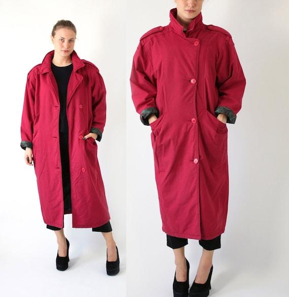 Red Long Puffer Coat, Vintage Padded Coat, 80's Ov