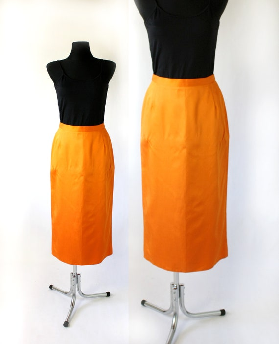 Vintage Yellow Pencil Skirt 80/'s Midi Skirt High Waisted Skirt