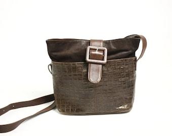 Vintage 70's 80's Brown Genuine Leather Croco Embossed Tote Bag Crossbody, Brown Suede Shoulder Bag