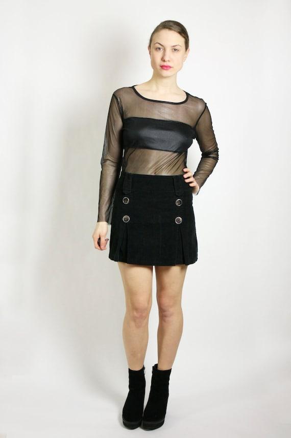 Vintage 80's 90's Black Corduroy Mini Skirt Made i