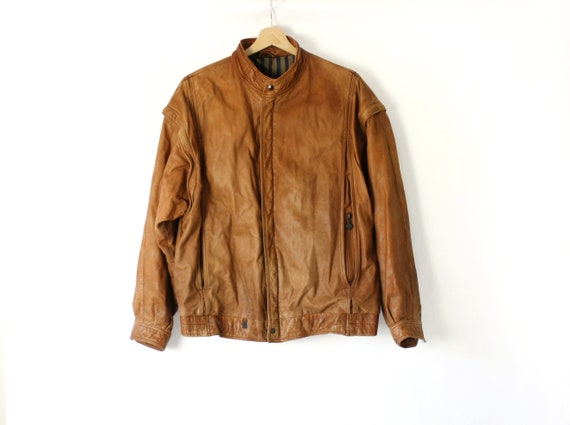 Vintage Mens Leather Bomber, 70's 80's Camel Brown