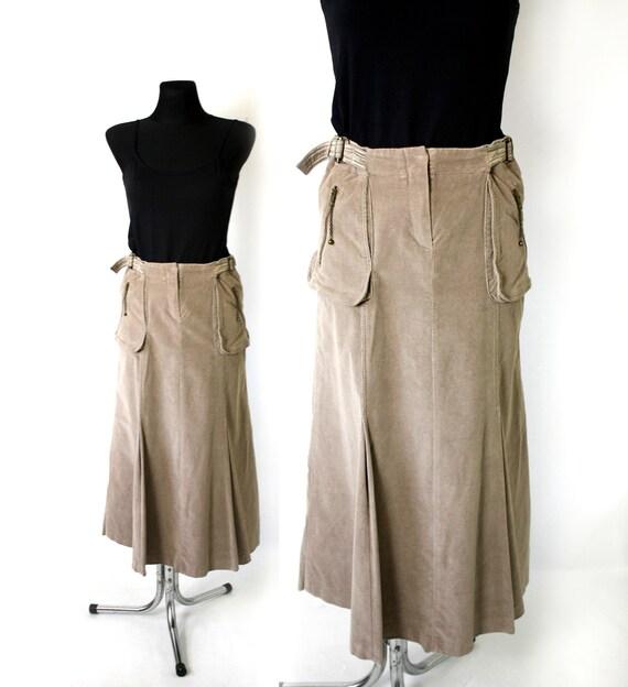 Vintage Italian Corduroy Maxi Skirt, Beige Cargo F