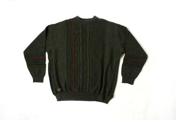 Vintage Tyrol Wool Sweater, 80's 90's Green textur
