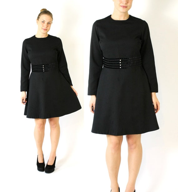 Vintage Black Skater Dress, 70's 80s Swedish Dress