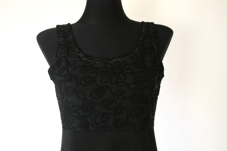 Small to Medium Black Skater Mini Dress Vintage 90/'s Black Slinky Baby Doll Dress Empire Waist