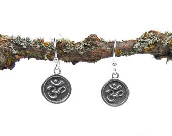 Sterling Silver Ohm Earrings - Yoga Jewelry - Tiny Earrings